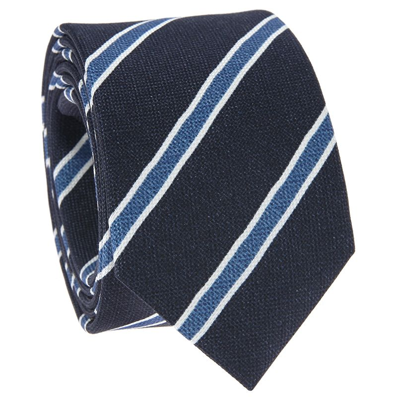Navy Blue Tie with Blue and White Stripes in Printed Silk