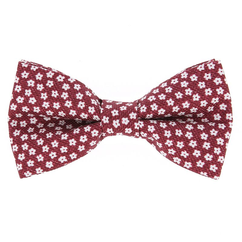 Red Bow Tie with White Small Flowers in Printed Silk