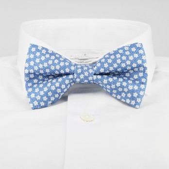 Light Blue Bow Tie with White Small Flowers in Printed Silk