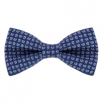 Steel Blue Bow Tie with Blue Paisley Pattern in Printed Silk