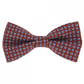 Burgundy Bow Tie with Blue Paisley Pattern in Printed Silk
