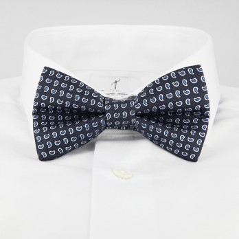 Anthracite Grey Bow Tie with Blue Paisley Pattern in Printed Silk