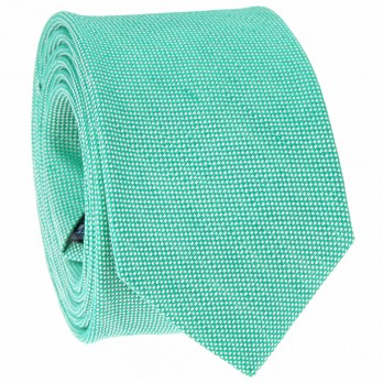 Green Tie in Linen and Silk Basket Weave