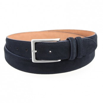 Navy blue suede leather belt - Lino