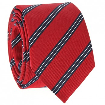 Red Tie with Navy Blue and White Stripes in Silk