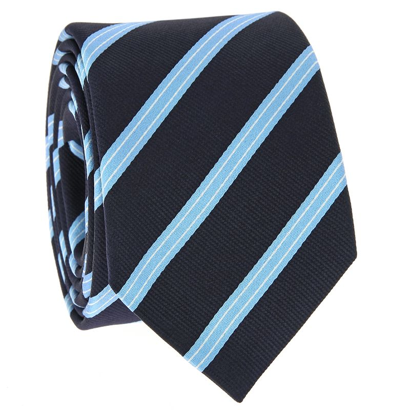 Navy Blue Tie with Light Blue and White Stripes in Silk