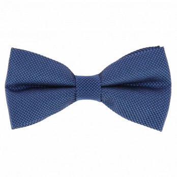 Steel Blue Semi Plain Bow Tie in Silk