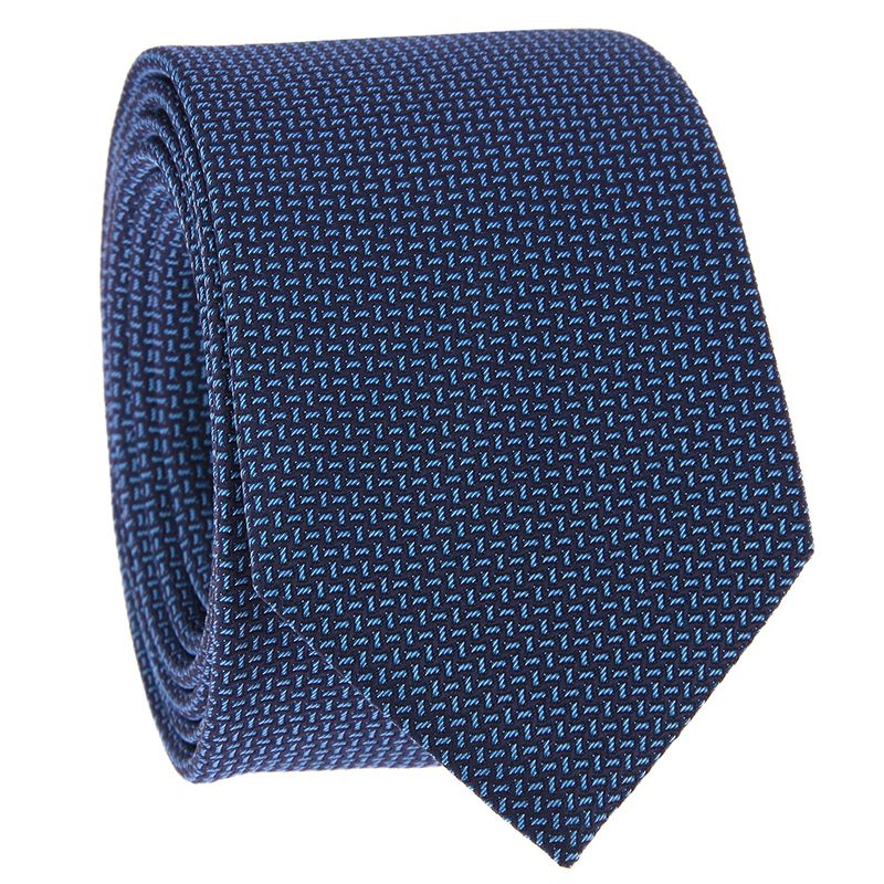 Tie with Navy Blue and Light Blue Jacquard Pattern in Silk
