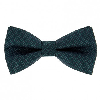 Bow Tie with Navy Blue and Green Jacquard Pattern in Silk