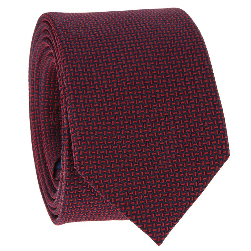 Tie with Navy Blue and Red Jacquard Pattern in Silk