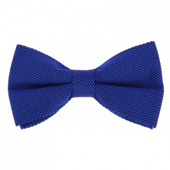 Cobalt Blue Bow Tie in Basket Weave Silk