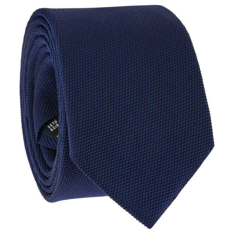 Navy Blue Tie in Basket Weave Silk