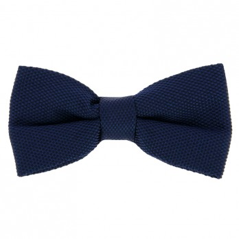 Navy Blue Bow Tie in Basket Weave Silk