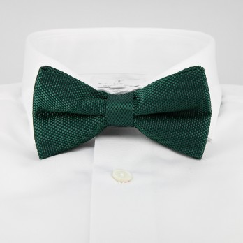English Green Bow Tie in Basket Weave Silk