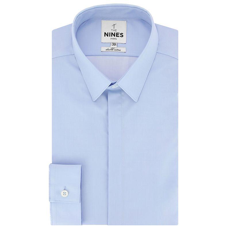 Light blue French collar mini twill shirt with hidden placket