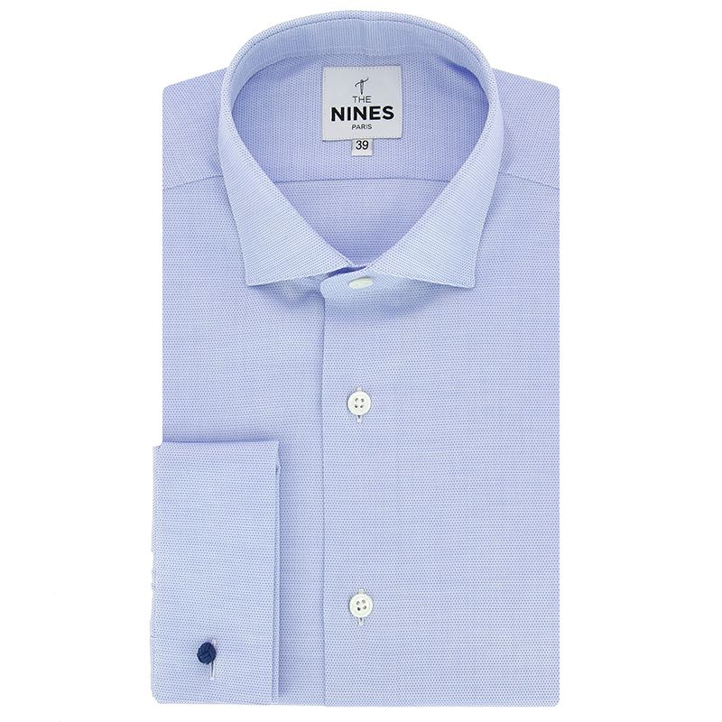 Light blue shark collar round patterns French cuff shirt