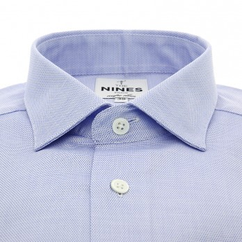 Light blue shark collar round patterns French cuff shirt