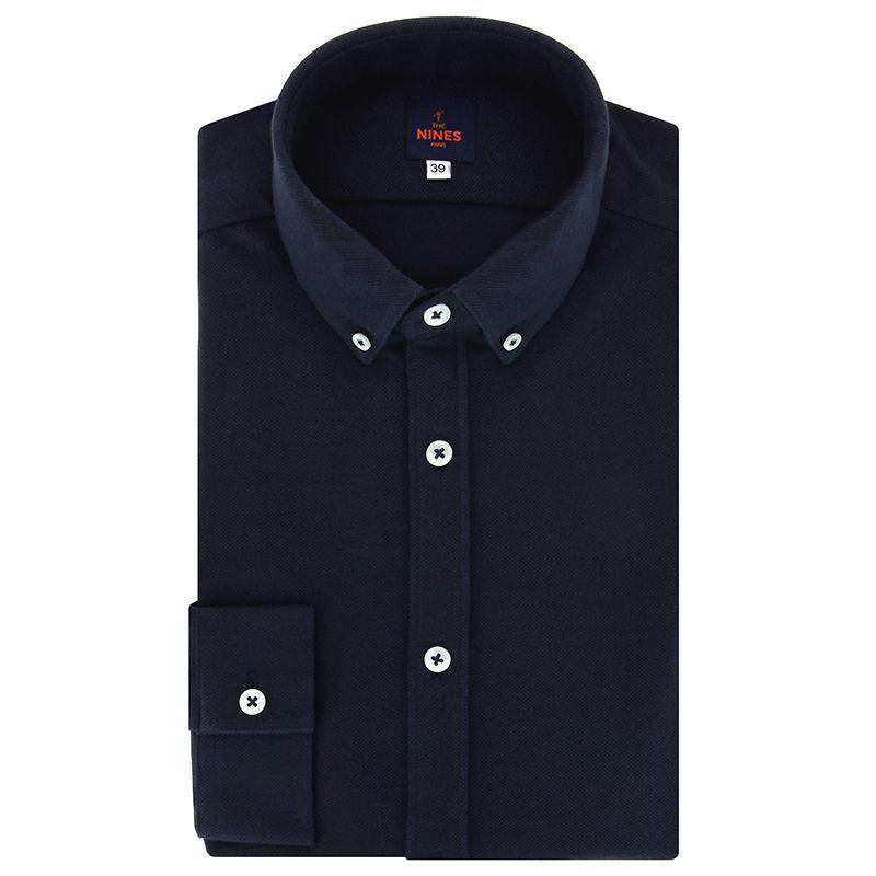 Navy blue button down collar cotton piqué shirt with american placket