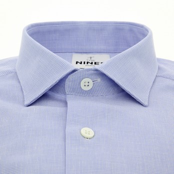 Light blue shark collar linen shirt with houndstooth pattern