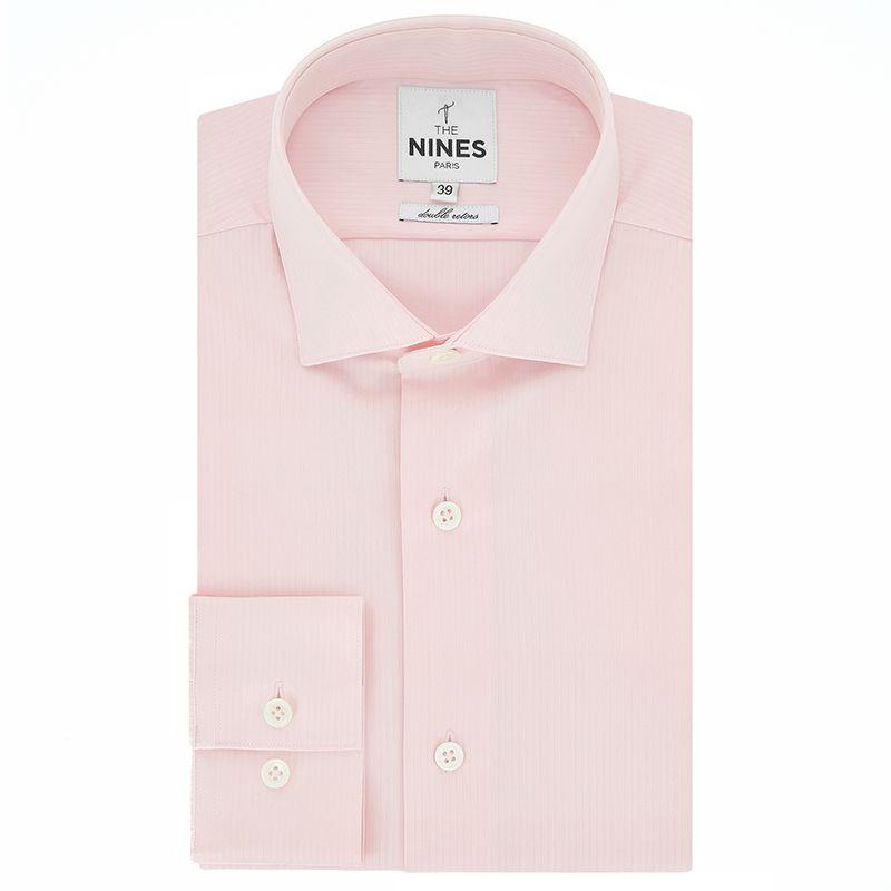 Light pink shark collar shirt with herringbone pattern