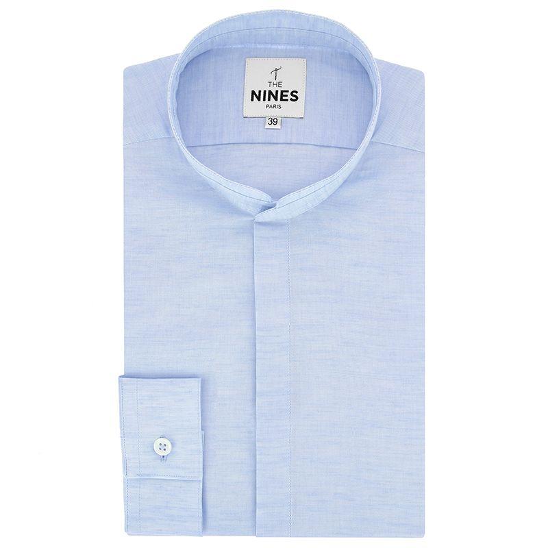 Light blue Mandarin collar heather linen shirt with hidden placket