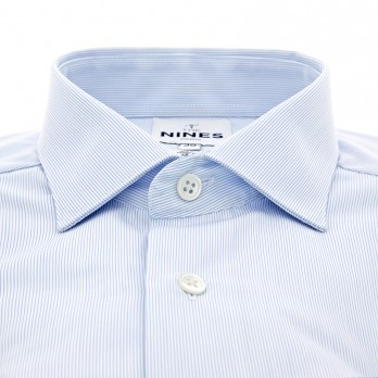 Light blue shark collar shirt with fine white stripes and French cuffs