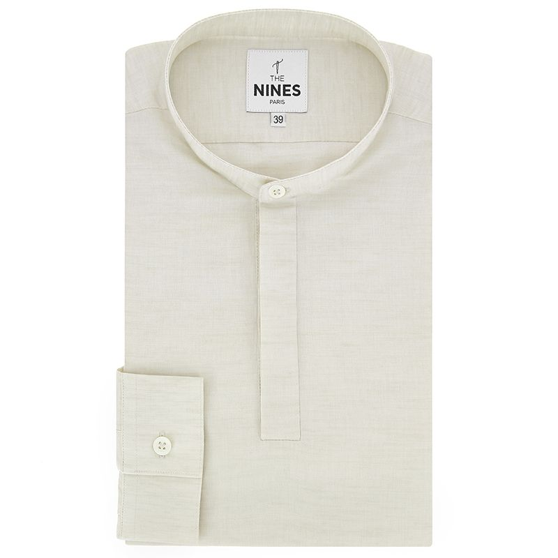 Off-white Tunisian collar heather linen shirt with hidden placket