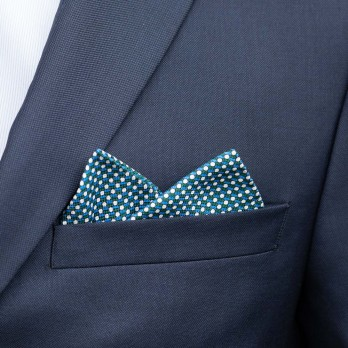 Green Pocket Square with Geometric Pattern in Printed Silk