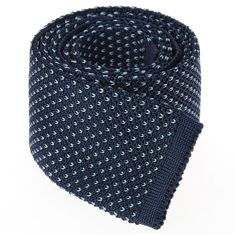 Navy Blue Knit Tie with Green V Pattern in Silk
