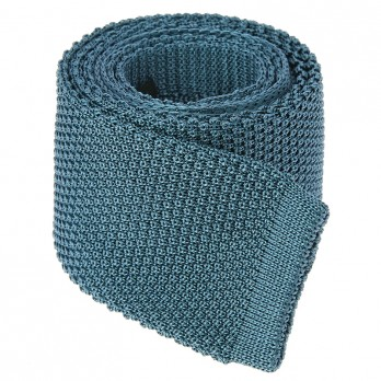 Petrol Blue Knit Tie in Silk