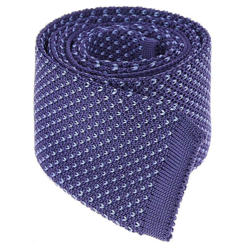 Indigo Blue Knit Tie with Light Blue V Pattern in Silk