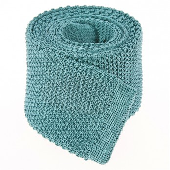 Frosty Green Knit Tie in Silk