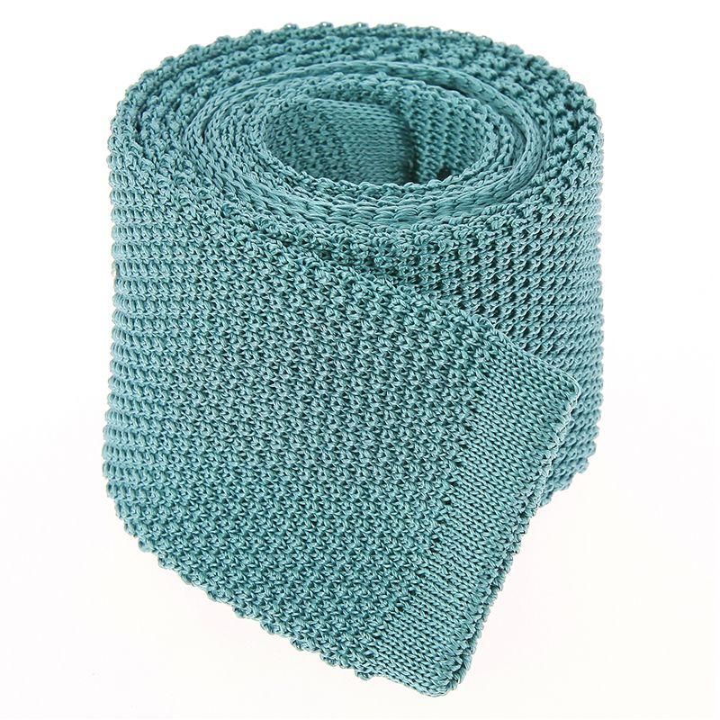 Frosty Green Knit Tie in Silk