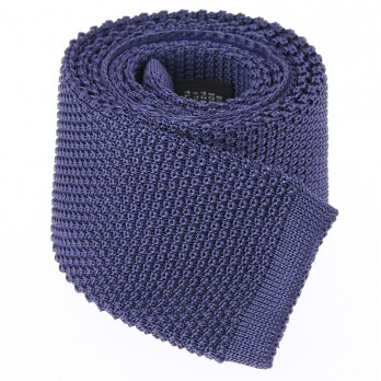 Indigo Blue Knit Tie in Silk