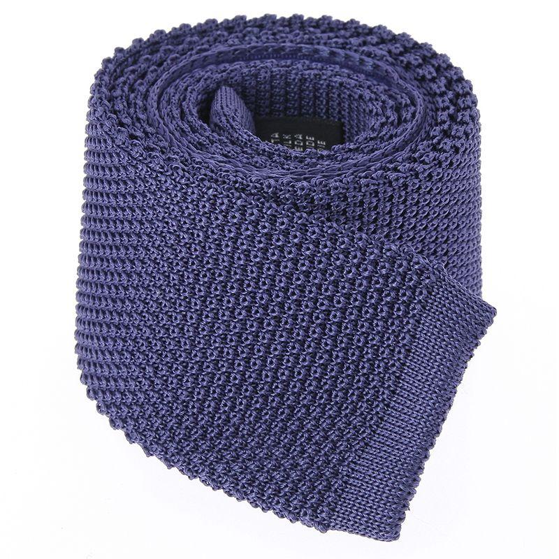 Indigo Blue Knit Tie in Silk