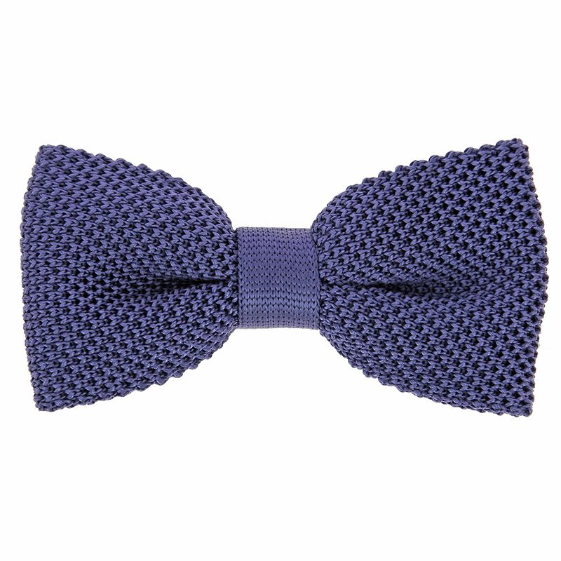 Indigo Blue Knit Bow Tie in Silk