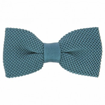 Petrol Blue Knit Bow Tie in Silk