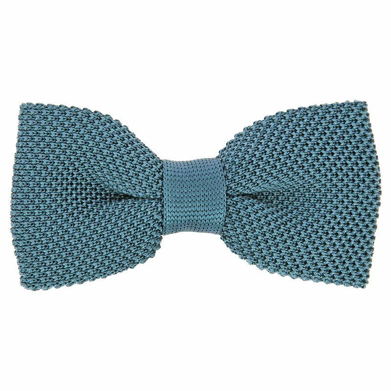 Petrol Blue Knit Bow Tie in Silk