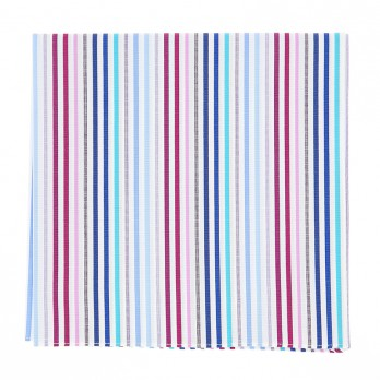 Multicolor striped pocket square in cotton