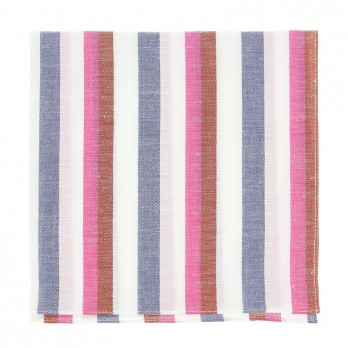 Blue and red striped pocket square in linen and cotton