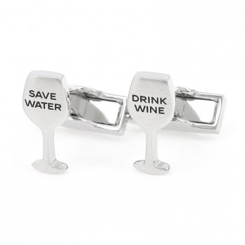 """Drink Wine Save Water"" cufflinks"