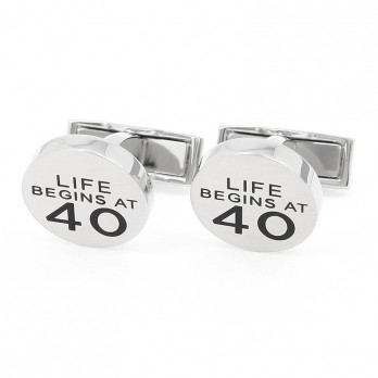 """Life begins at 40"" cufflinks"