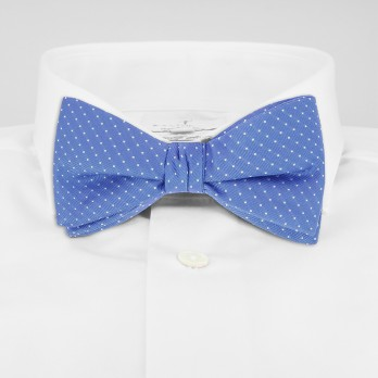 Light Blue Bow Tie with White Dots in Silk - Washington DC
