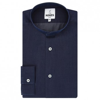 Blue Mandarin collar lyocell chambray shirt