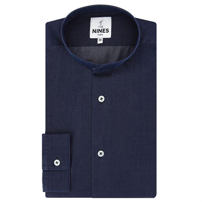 Blue Mandarin collar lyocell chambray shirt