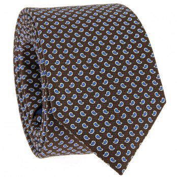 Brown Tie with Blue Paisley Pattern in Printed Silk