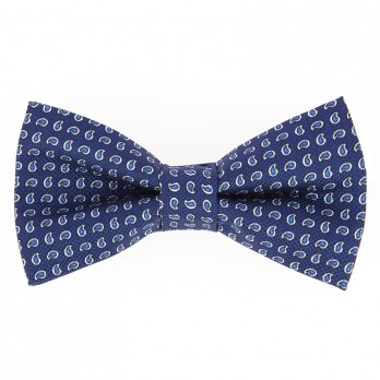 Blue Bow Tie with Blue Paisley Pattern in Printed Silk