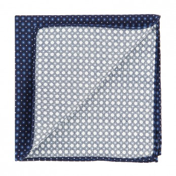 Navy Blue Pocket Square with Blue Dots in Printed Silk