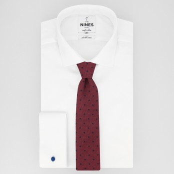 Burgundy Tie with Navy Blue Dots in Jaspe Silk