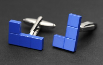 Blue cufflinks - Tetris blue